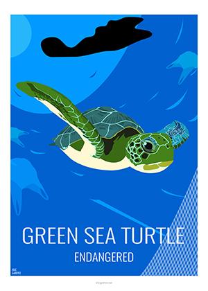 Eric Garence artiste Niçois tortue verte greesea turtle danger protection