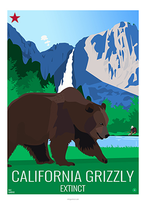 Eric Garence artiste Niçois grizzly claifornia goldrush usa indians flag kids WWF