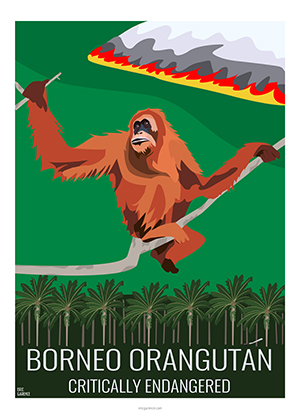 Eric Garence artiste Niçois orangutan orang outang bornéo fire artwork orange