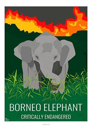 Eric Garence artiste Niçois elefant elephant bornéo fire small artwork WWF