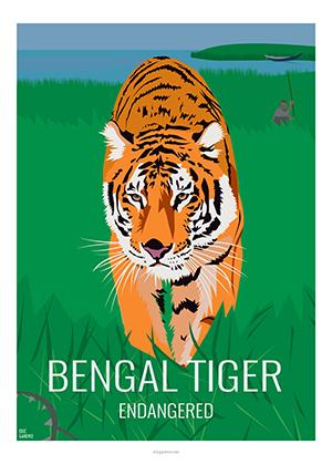 Eric Garence artiste Niçois bengal extinct Tiger Tigre Artwork Bangladesh WWF wild life Kids human